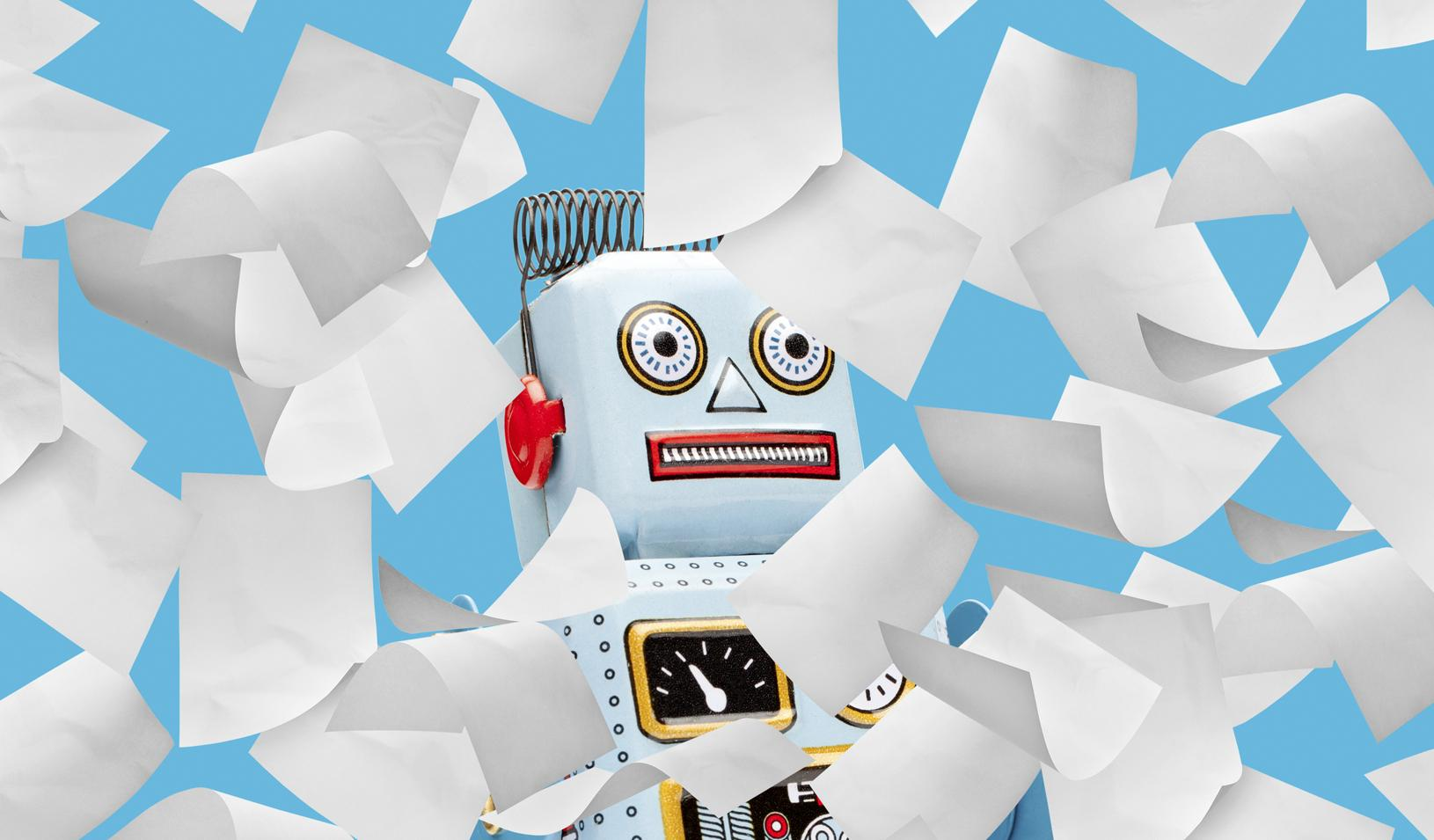 Illustration of a robot looking stunned as sheets of paper fall from the sky. Credit: Alvaro Dominguez