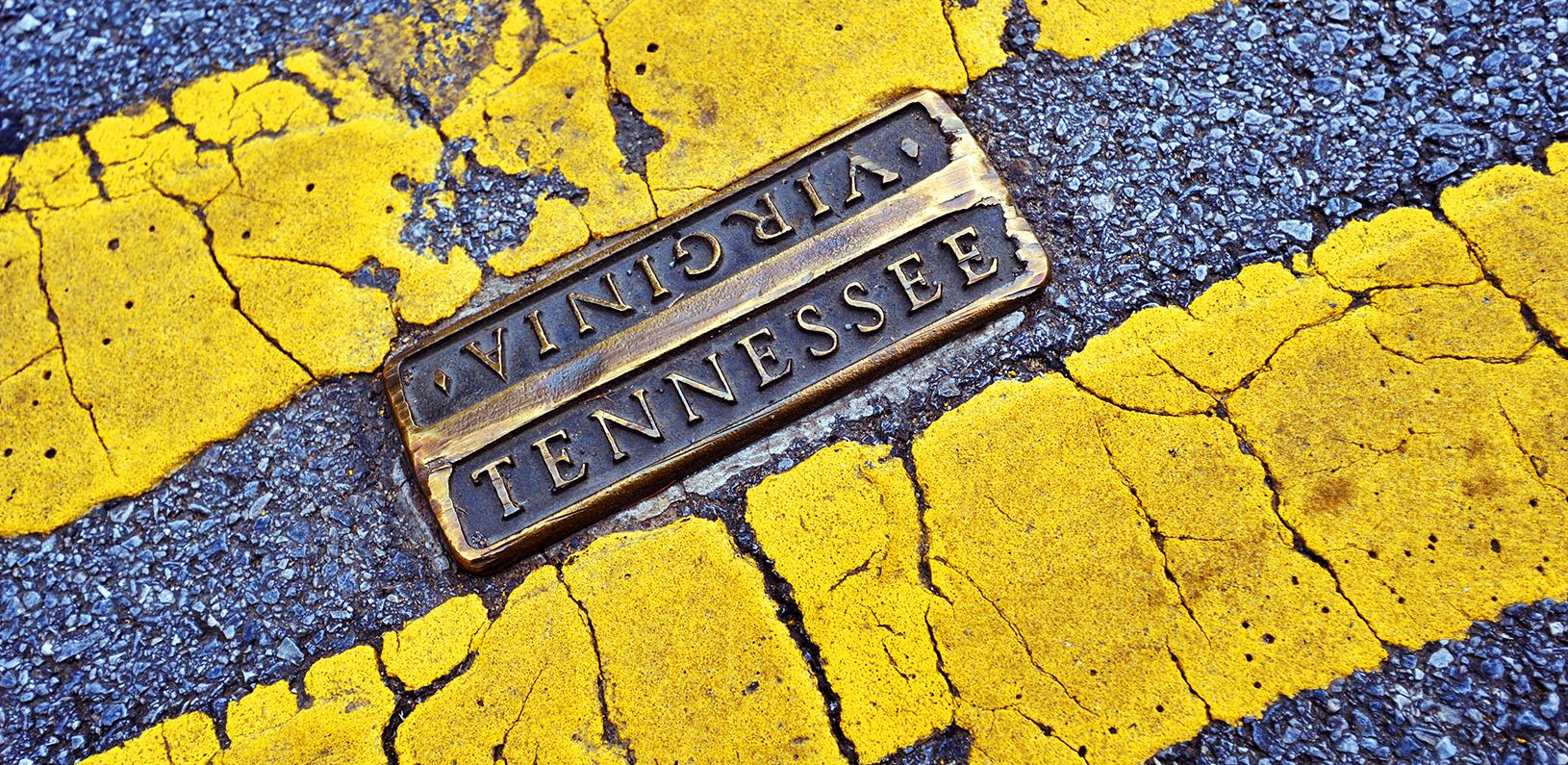 Tennessee-Virginia state line on Main Street in Bristol