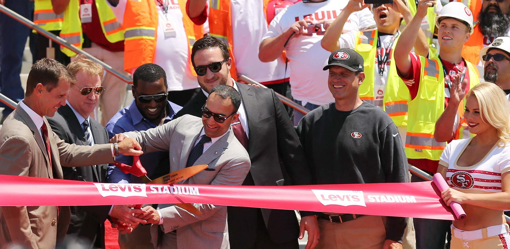 San Francisco 49ers President Paraag Marathe cutting the ribbon at the opening of Levi's Stadium in 2014