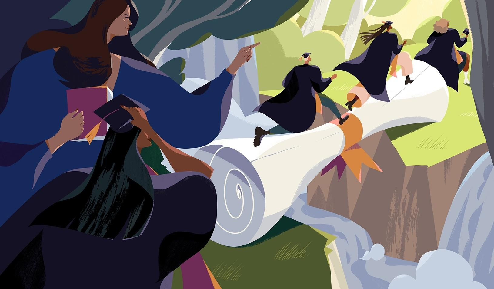 """An illustration of a woman leader guiding students over a diploma """"bridge."""" Credit: Illustration by Kim Salt."""