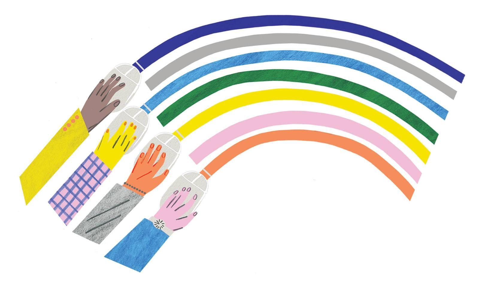 Illustration of four multicolored hands holding computer mice, with a rainbow coming out of the computer mice. Credit: Irene Servillo