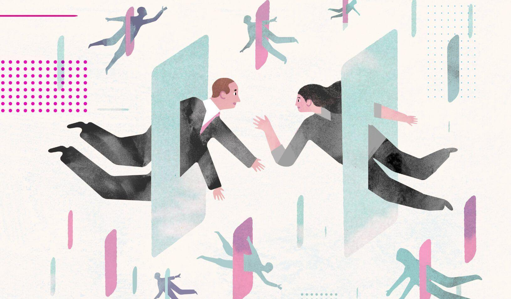 An illustration of figures coming together virtually, through screens. Credit: Keith Negley