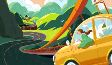 An illustration of a car traveling over the Golden Gate bridge into a hilly landscape with a bright sun ahead. Credits: Illustration by Kim Salt