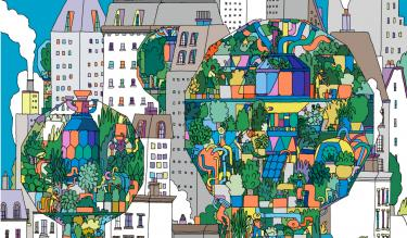 Illustration depicting a cityscape featuring green spaces. Credit: Illustration by Celyn Brazier