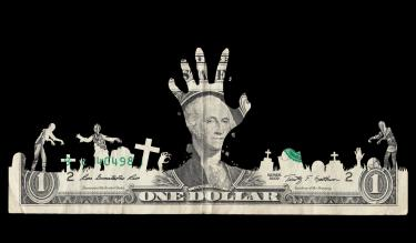 A dollar bill cut to look like it has zombies and a hand coming out of it. Credit: Alvaro Dominguez