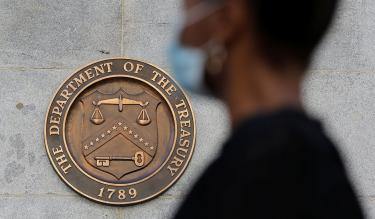 Signage is seen at the United States Department of the Treasury headquarters in Washington, D.C., U.S., August 29, 2020. Credit:REUTERS/Andrew Kelly