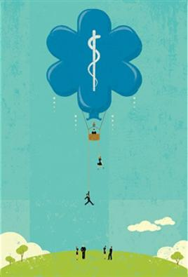 Illustration of people falling from a healthcare hot-air balloon