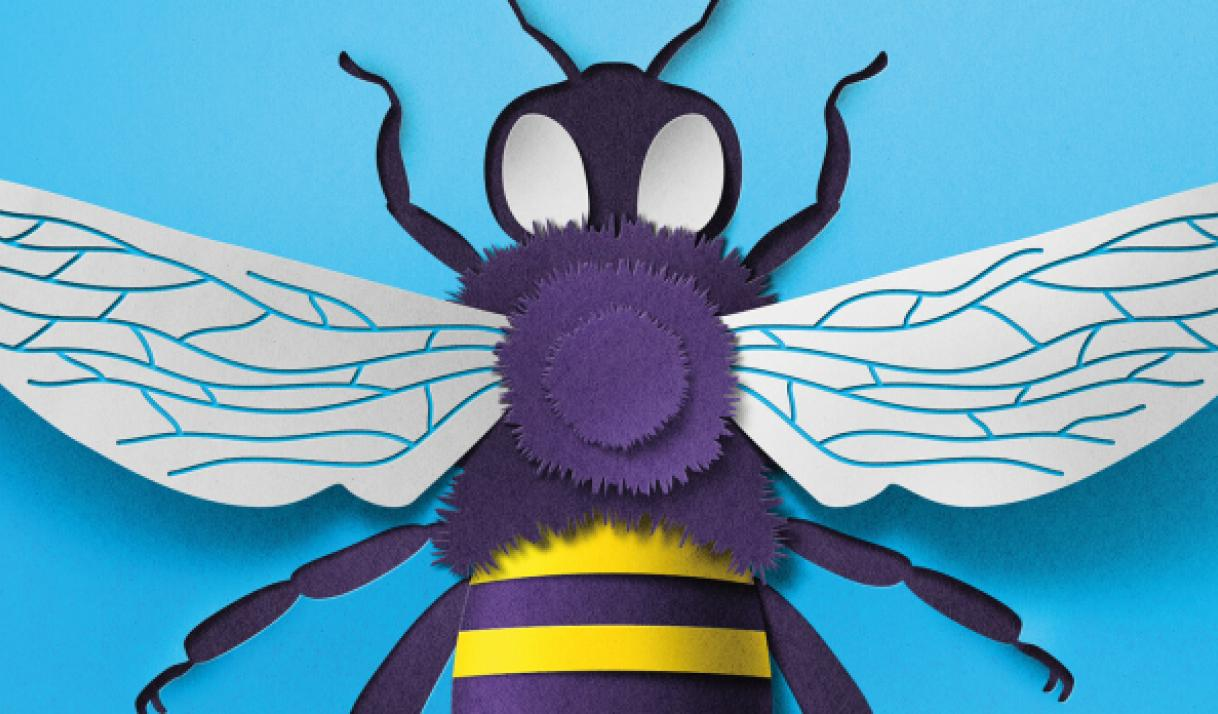 Cover illustration of a detailed, 3D paper cutout of a bee from the Summer 2018 issue of Stanford Business magazine.