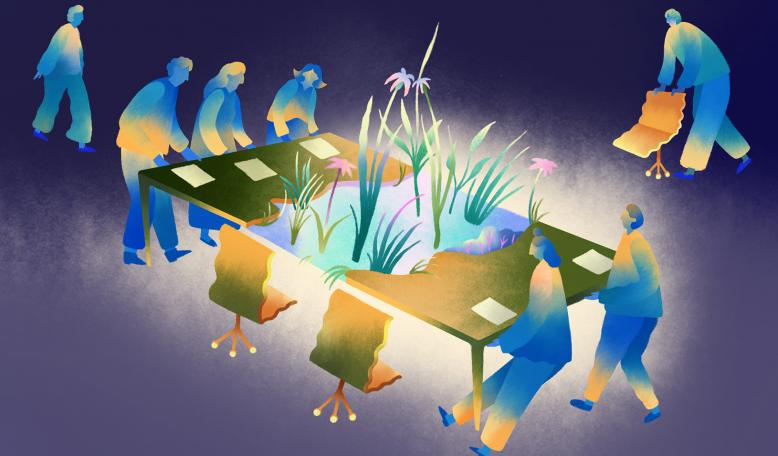 An illustration showing figures pulling apart a table to make room, while other figures are rolling up more chairs. Credit: Illustration by Jesse Zhang