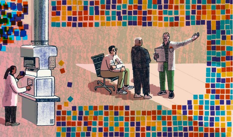 An illustration of 3 data scientists in conversation, while a third feeds information into a machine. Credit: Josh Cochran