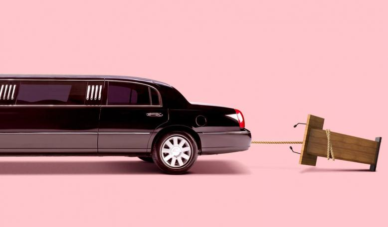 A photo illustration of a limousine with a rope behind it that is pulling over a podium. Credit: Alvaro Dominguez