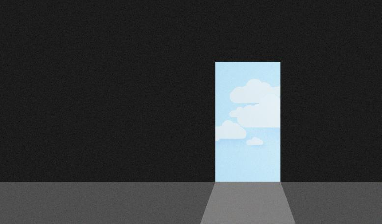 A door from a dark room leads to bright open sky. Credit: Illustration by Tricia Seibold, iStock/supakritpumpy