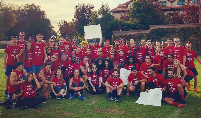 The students of section two during the section Olympics. Credit: Courtesy of Sevda Memet, MBA '20