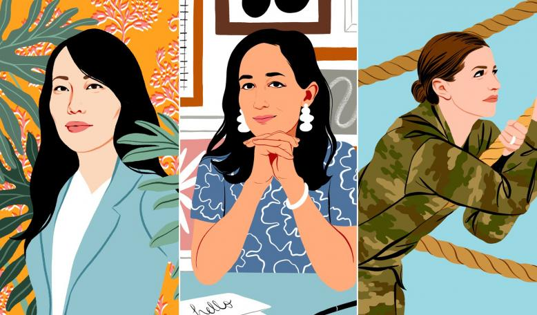Left to Right: Jane Chen, Mariam Naficy and Emily Núñez Cavness. Credit: Bijou Karmen