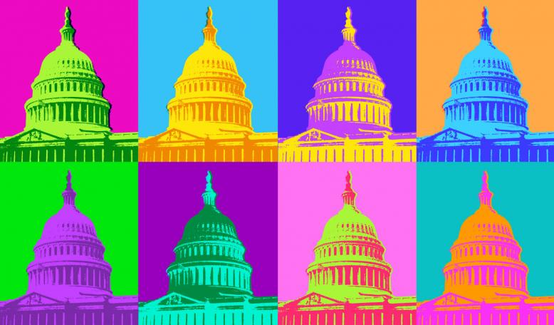Tiles of brightly colored, posterized images of the Capitol Building. Credit: iStock/smartboy10