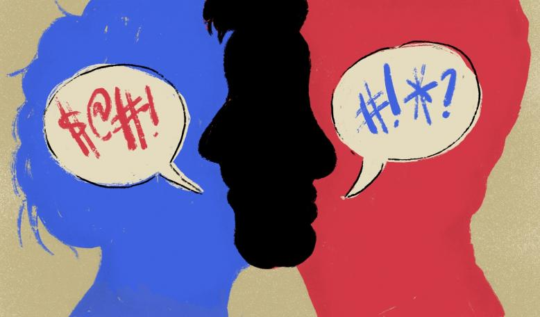 Illustration of two figures–one red, and one blue–engaged in conflict. Illustration by Tricia Seibold