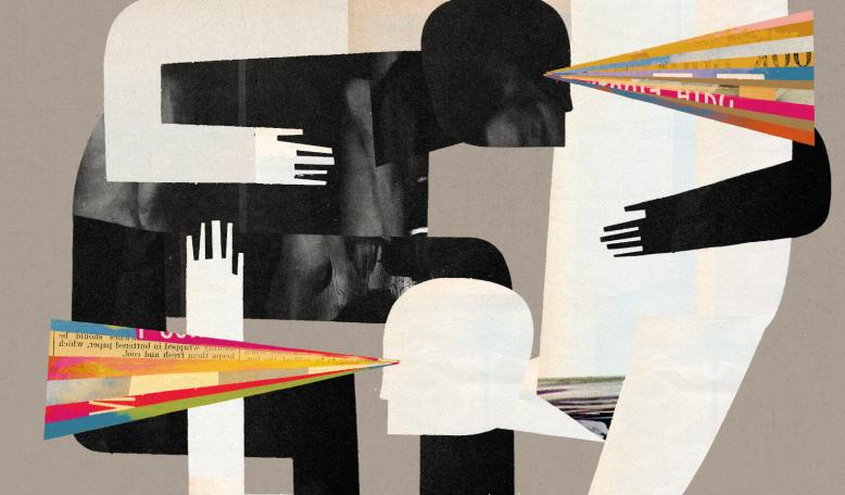 Illustration showing two figures – one black, one white – intertwined and looking outward. Credit: Keith Negley
