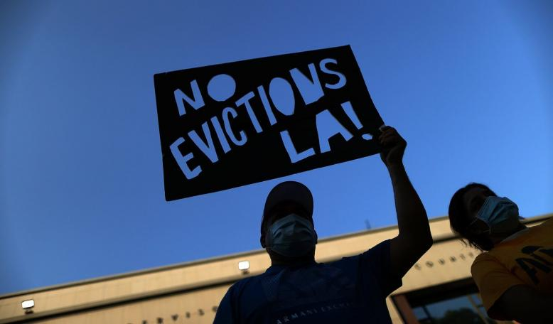 Tenants and housing rights activists protest for a halting of rent payments and mortgage debt, during the coronavirus disease (COVID-19) outbreak. Credit: REUTERS/Lucy Nicholson