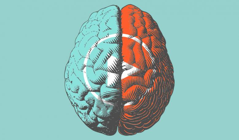 Illustration showing the two sides of the brain in different colors, overlaid with a play button. Credit: iStock/Jolygon