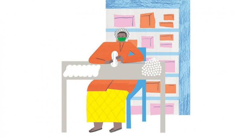 Illustration of a person sitting at a table while making sanitary napkins. Credit: Irene Servillo