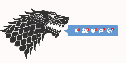 illustration of a direwolf with social counts