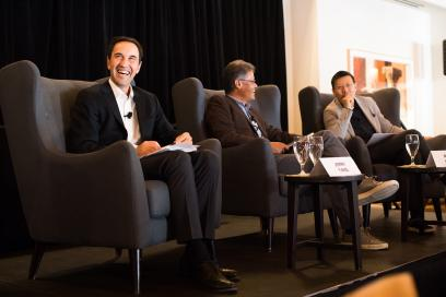 Panelists from left to tight: Dean Jonathan Levin (Stanford GSB), Jerry Yang (Yahoo) and Neil Shen (Sequoia Capital China). Credit: Holly Hernandez