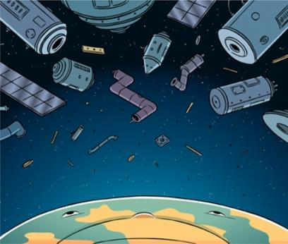 Illustration of junk in space