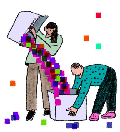 an illustration of two data scientists collecting data. Credit: Josh Cochran