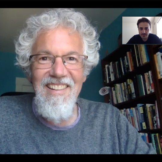 Sefa speaking with professor via Zoom video chat