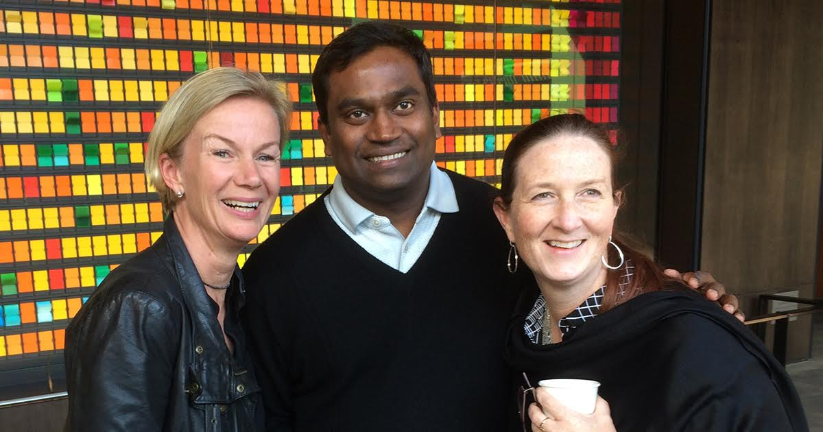 LEAD participant Cecilia Hultén (left) and her virtual teammates Ramesh Manga and Ann Farley finally met for the first time in the real world at a three-day gathering in April.