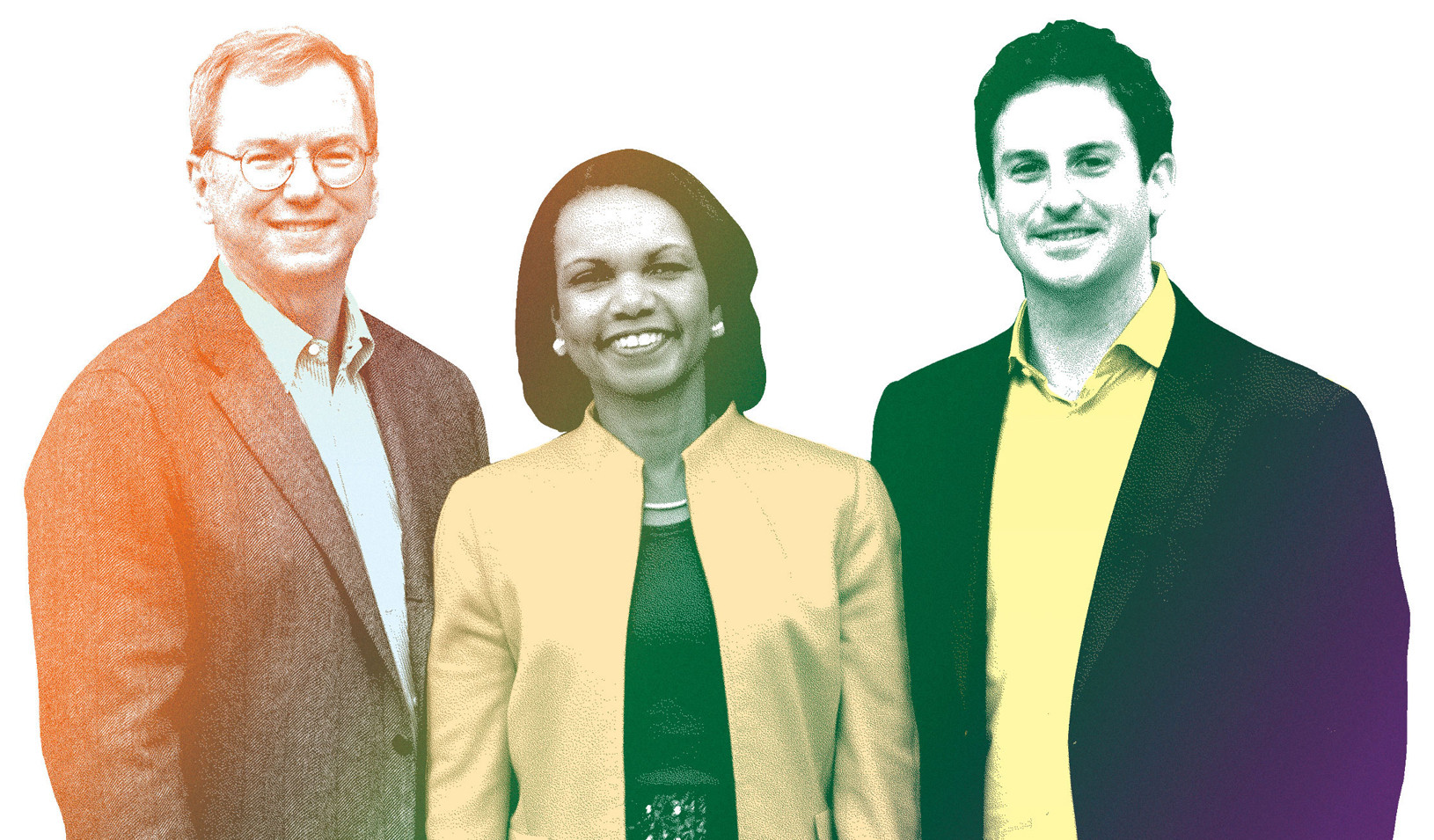 Eric Schmidt, left, Condoleezza Rice, and Jared Cohen Braulio Amado
