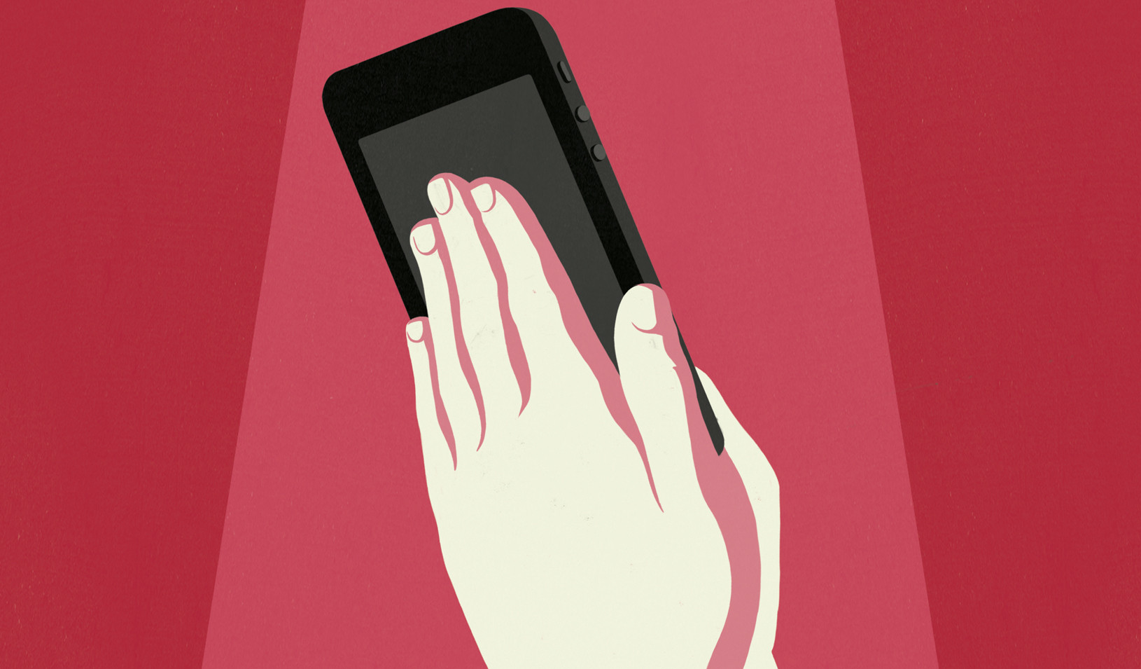 Illustration of hands holding a smart phone by Anna Parini.