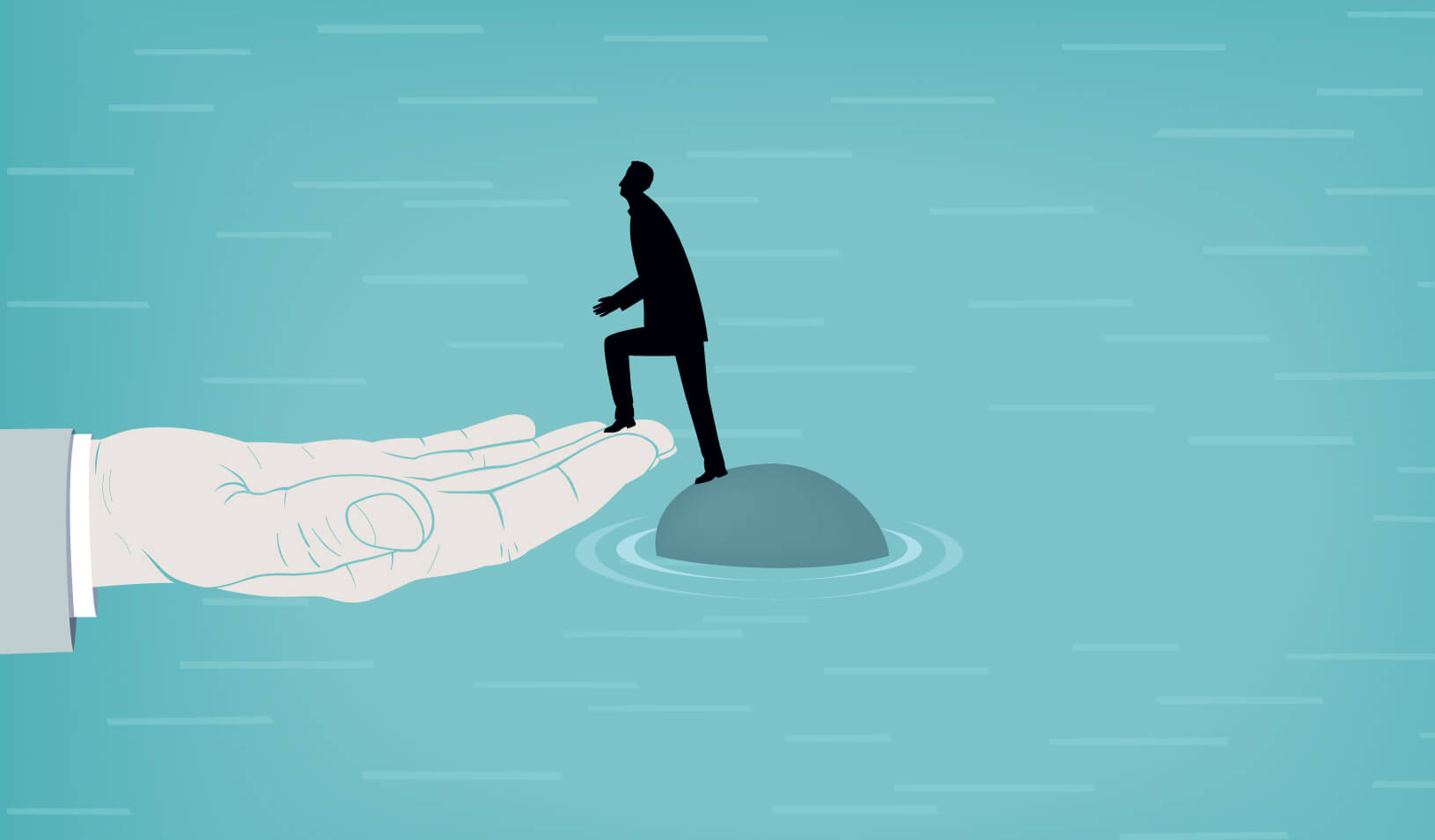 Illustration of man climbing onto a hand from rock in the middle of water   iStock/dane_mark
