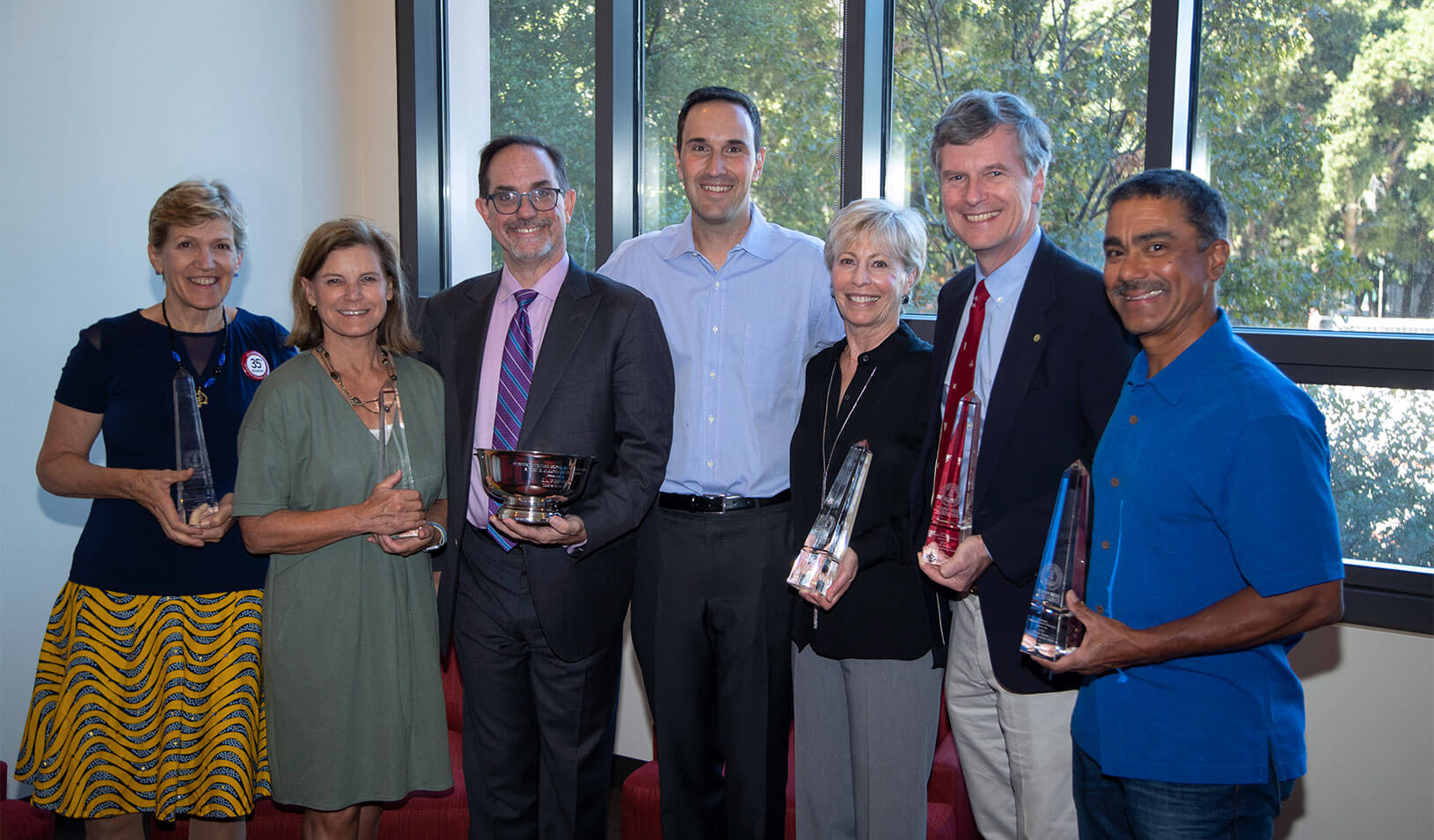 Award recipients stand with Dean Jonathan Levin. Credit: Stacy Geiken
