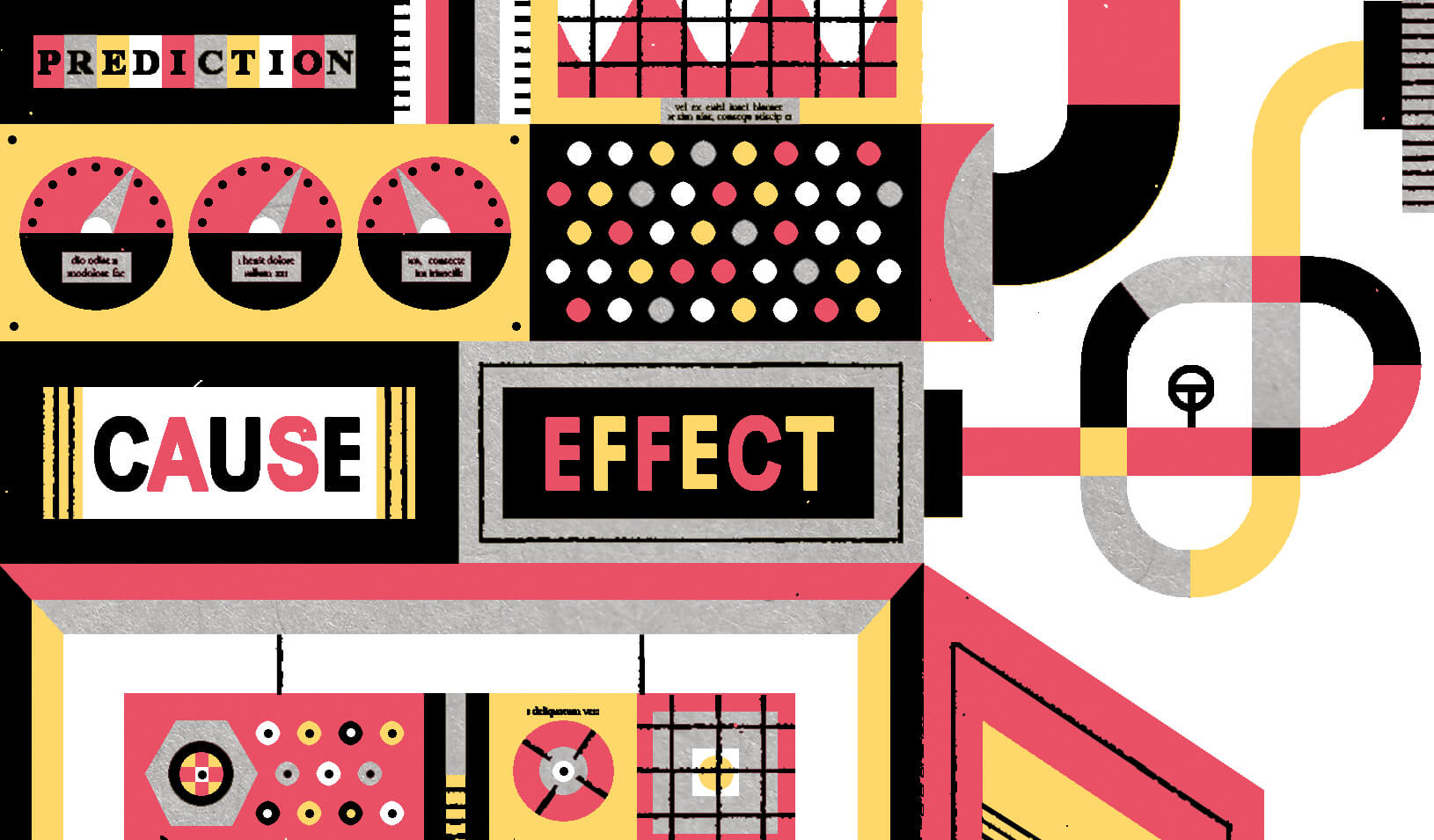 "A complex machine with ""cause"" and ""effect"" signs 