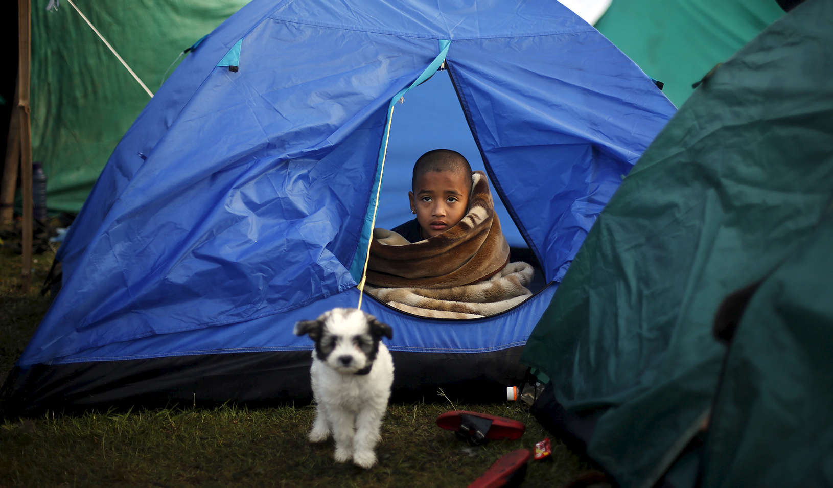A boy sits inside a tent after a deadly earthquake in Nepal on April 29, 2015. | Reuters/Adnan Abidi