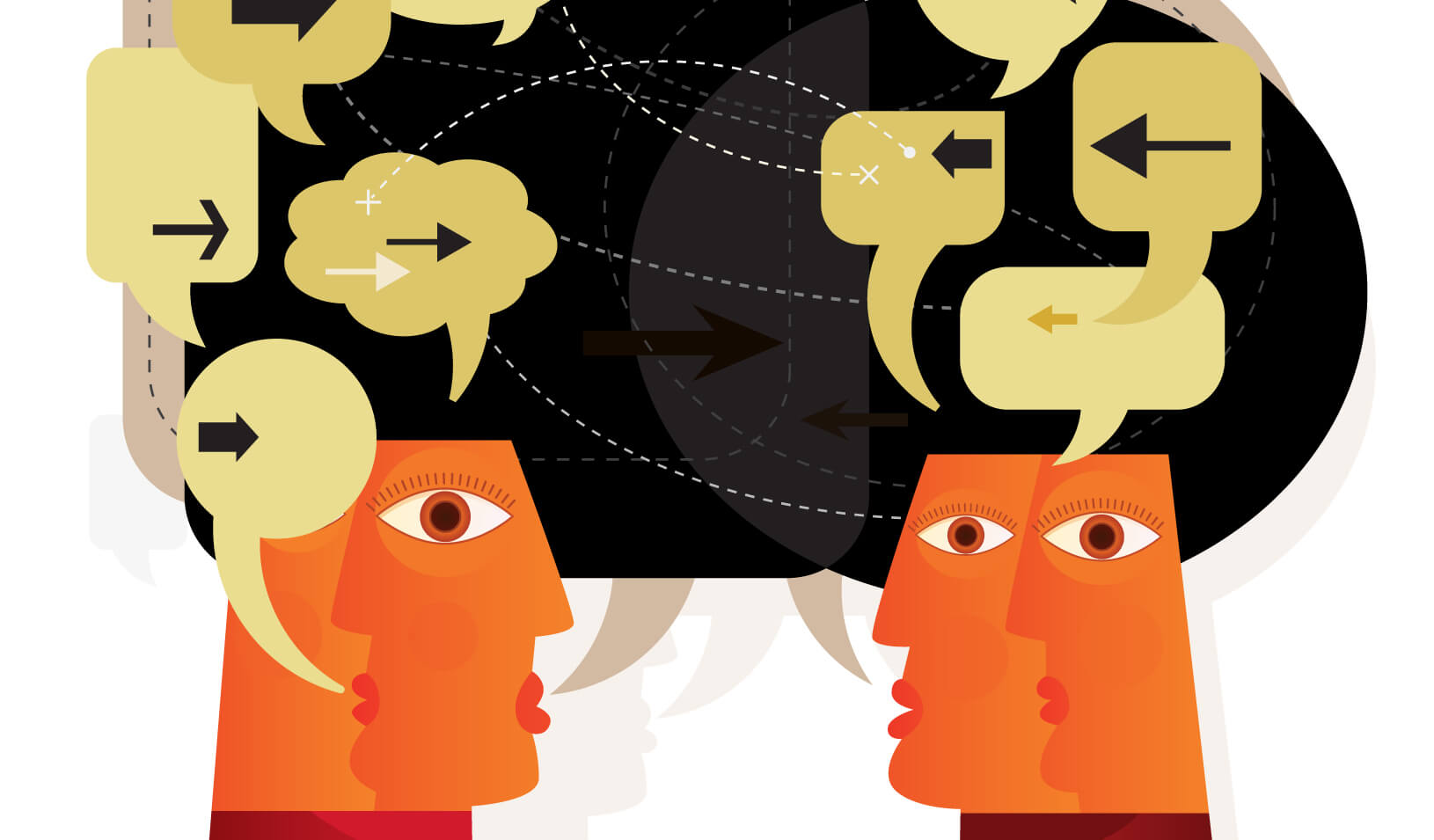 illustration of heads communicating ideas | iStock/DrAfter123