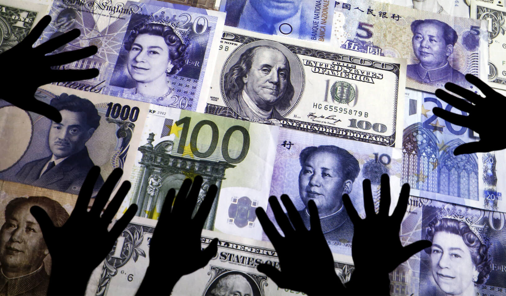 Hands are silhouetted against a backdrop projected with the picture of various currencies of money in this illustration. Credit: Reuters/Kacper Pempel/Illustration