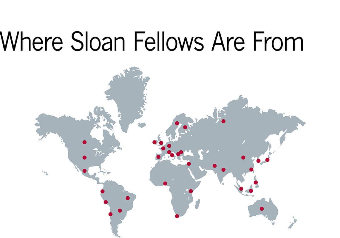 map of Sloan fellow hometowns