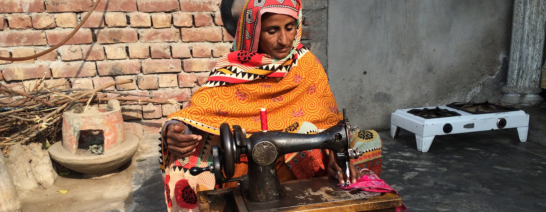 lady at a sewing machine