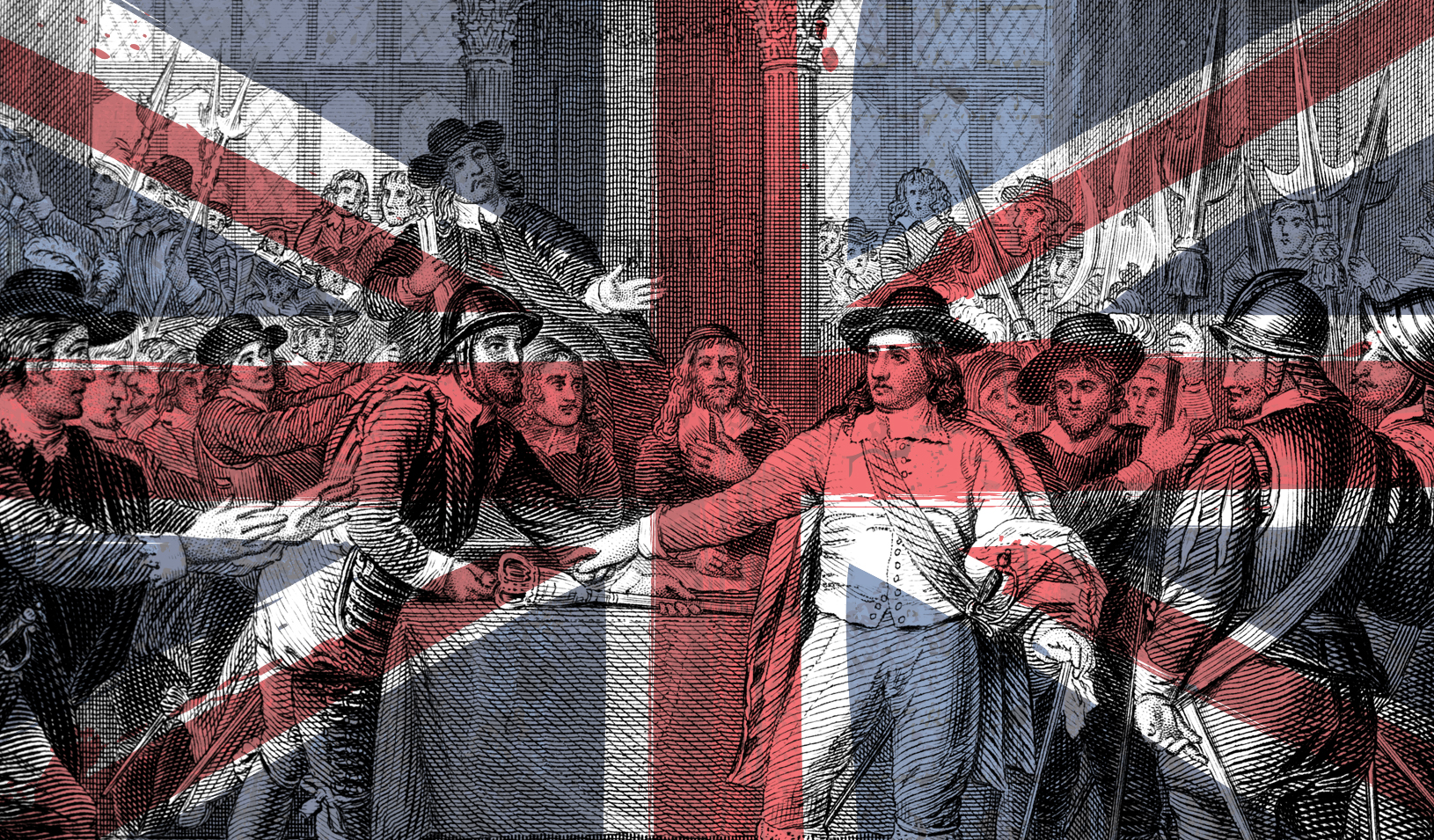 An illustration of the Union Jack overlayed with British revolutionaries taking the scepter from King Charles I