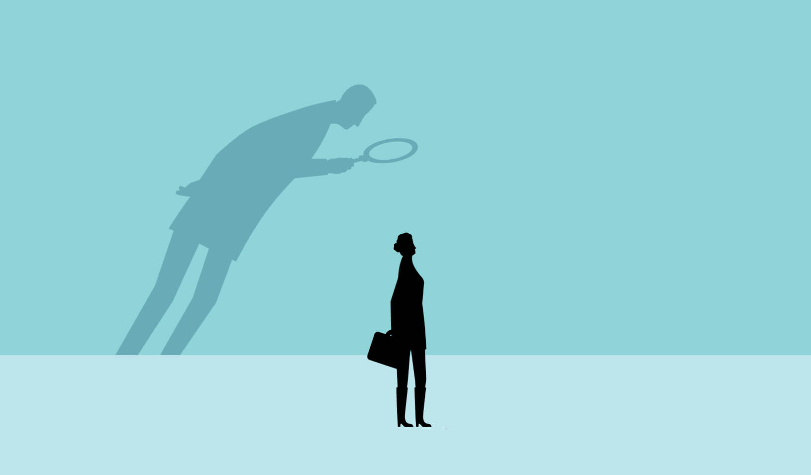 illustration of a shadow of a man looming over a smaller woman, examining her with a magnifying glass