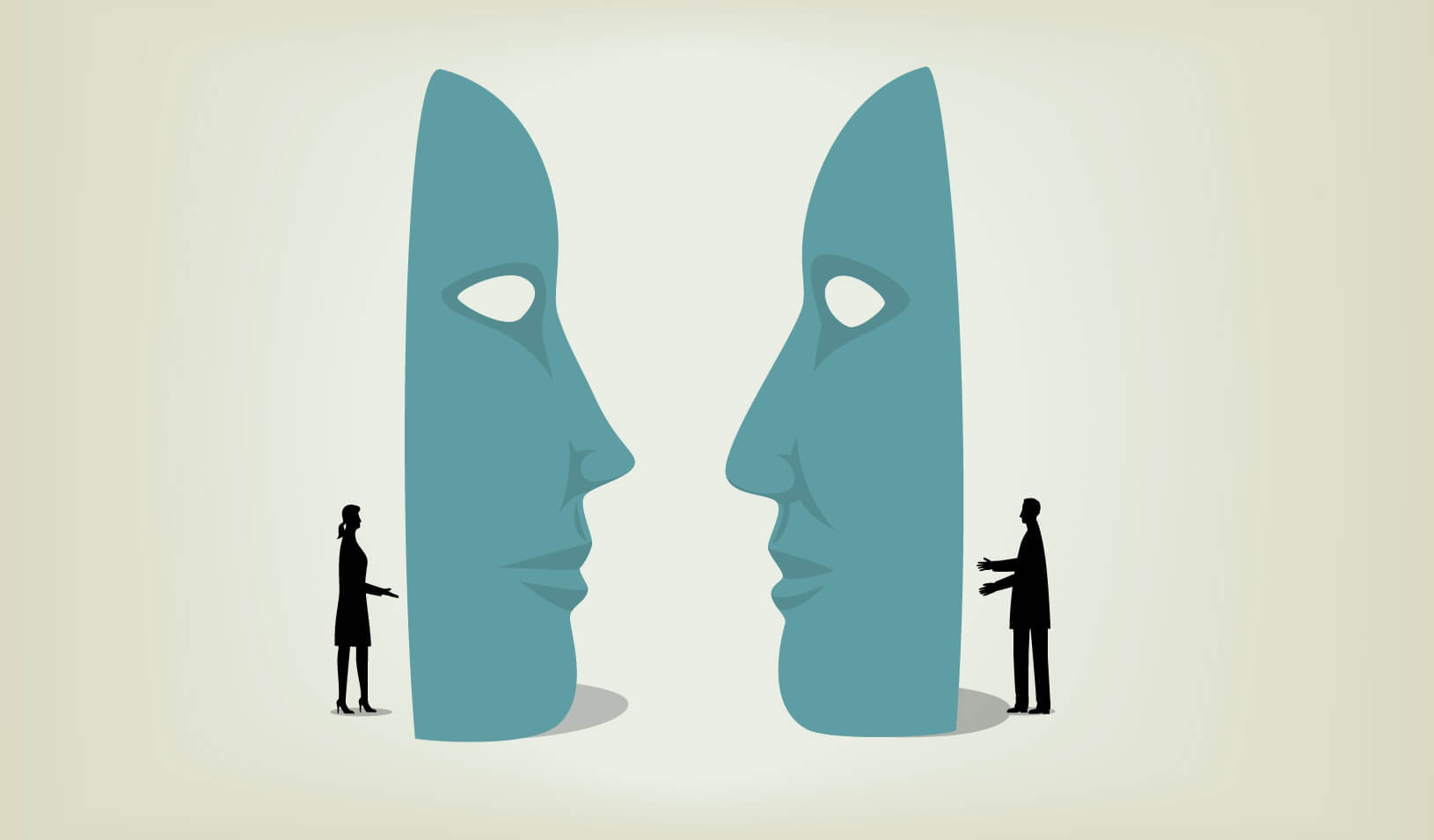 illustration of two people talking through huge face masks |iStock/dane_mark