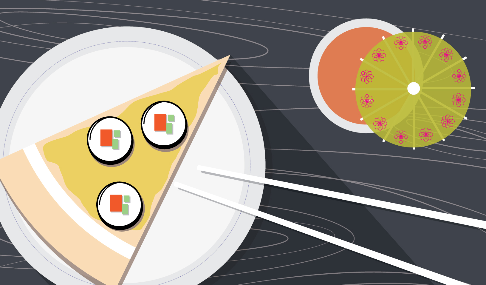 Illustration of pizza with sushi toppings and chopsticks   Tricia Seibold