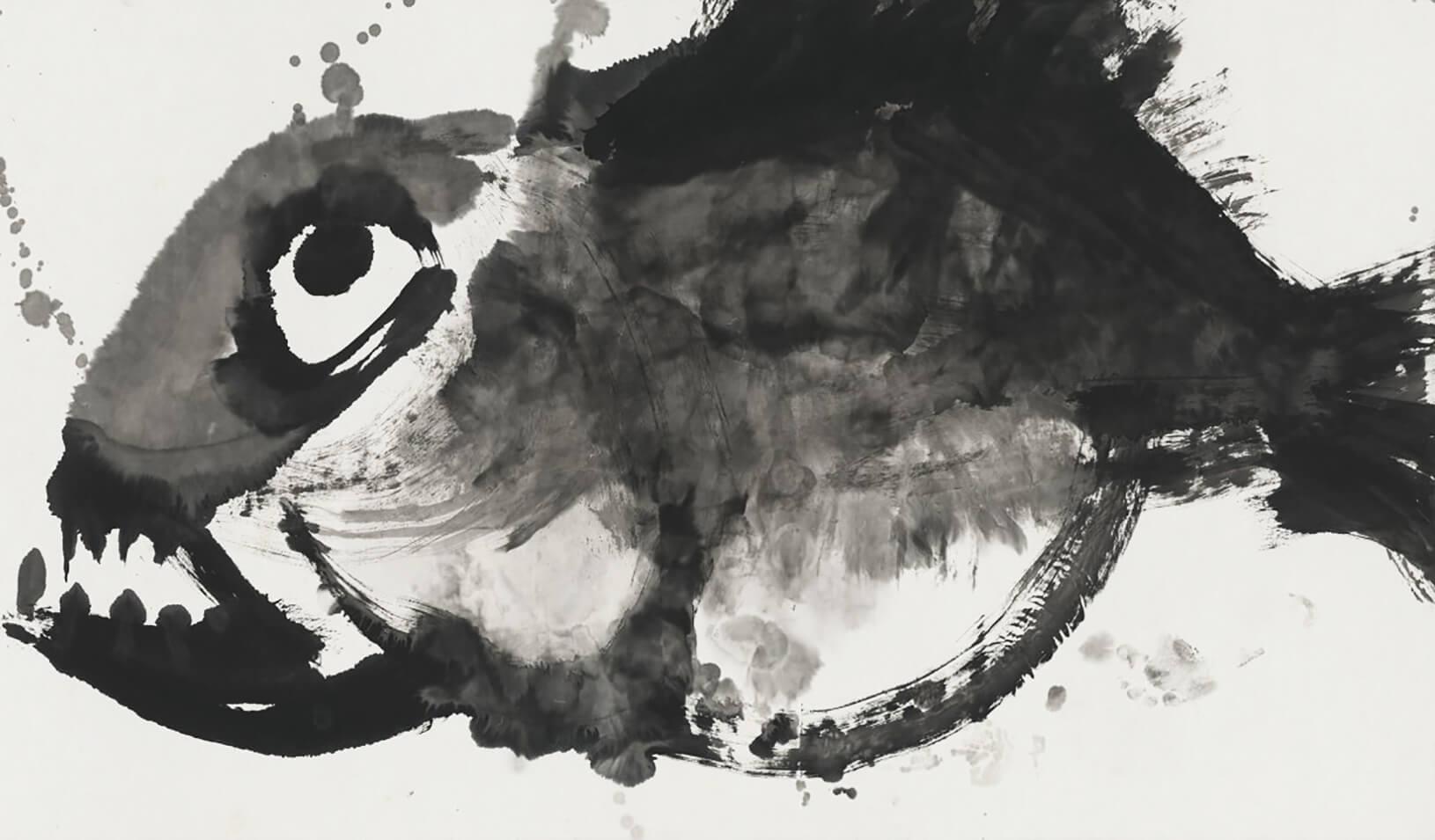 """Stare of Death,"" 2015. Ink on paper by Li Jin."