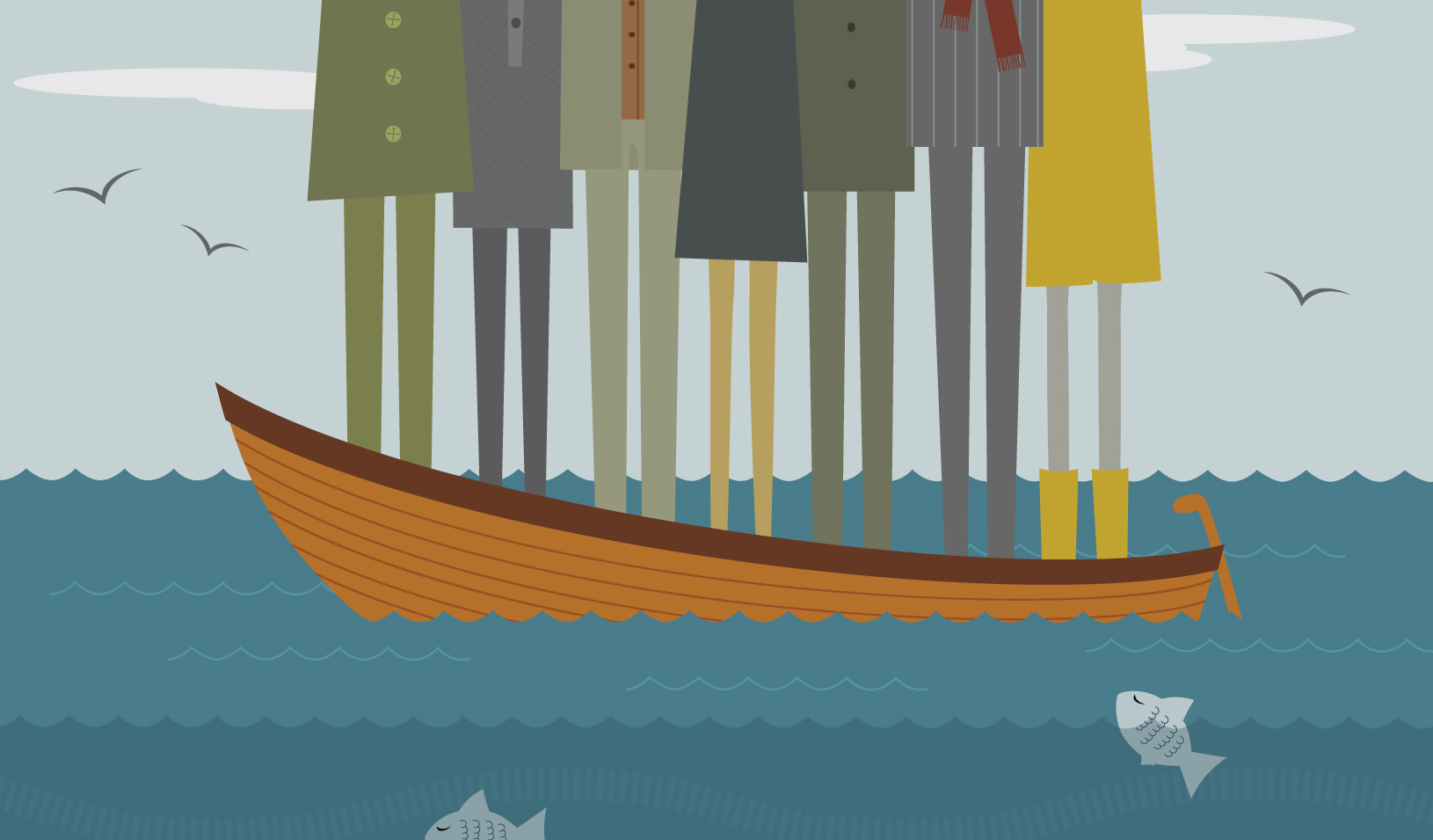 illustration people standing in a rowboat | iStock/MsEli