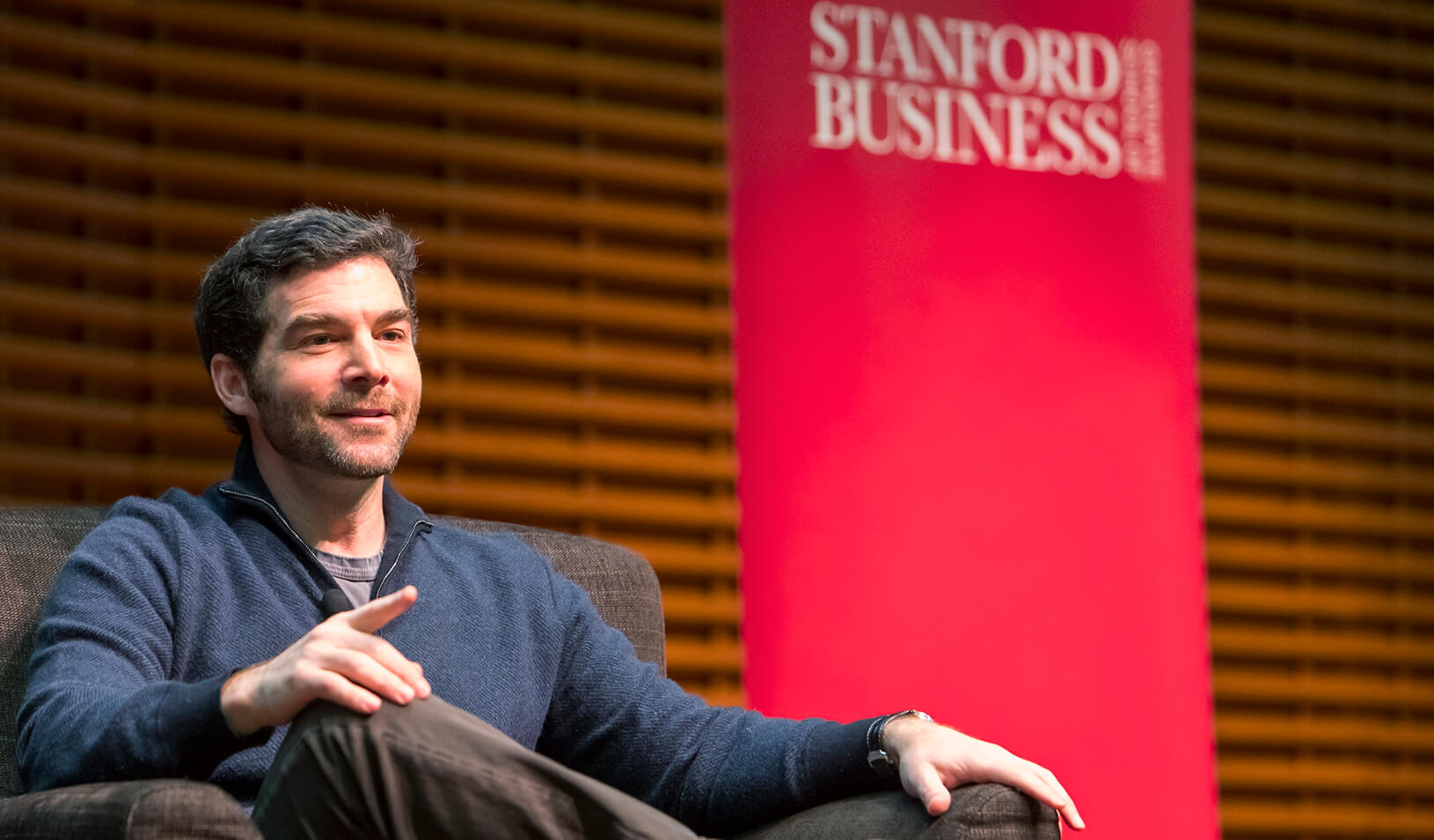 LinkedIn CEO, Jeff Weiner, speaking at the Stanford GSB View from the Top series. | Stacy Geiken