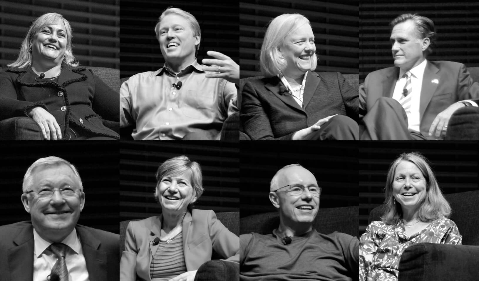 Renee James, Kent Thiry, Meg Whitman, Mitt Romney, Jill Abramson, Doug Leone, Sue Desmond Hillmann, Sir Alex Ferguson | Natalie White and Stacy Geiken