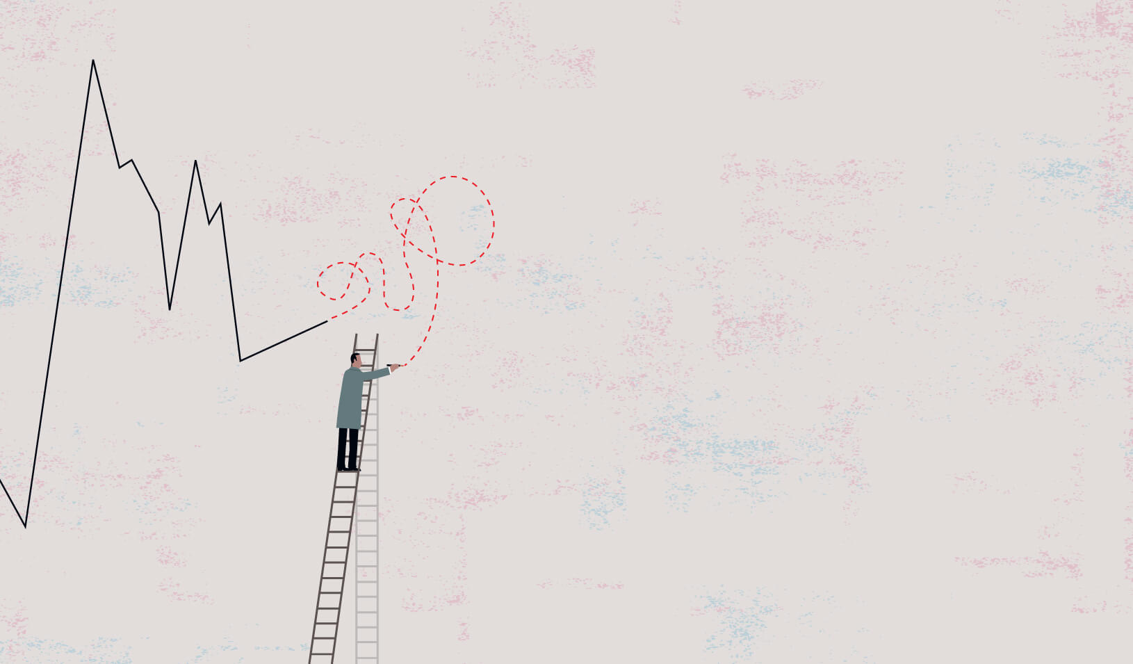 A man on a ladder drawing chaotic circles as an extension of a performance line chart | iStock/dane_m
