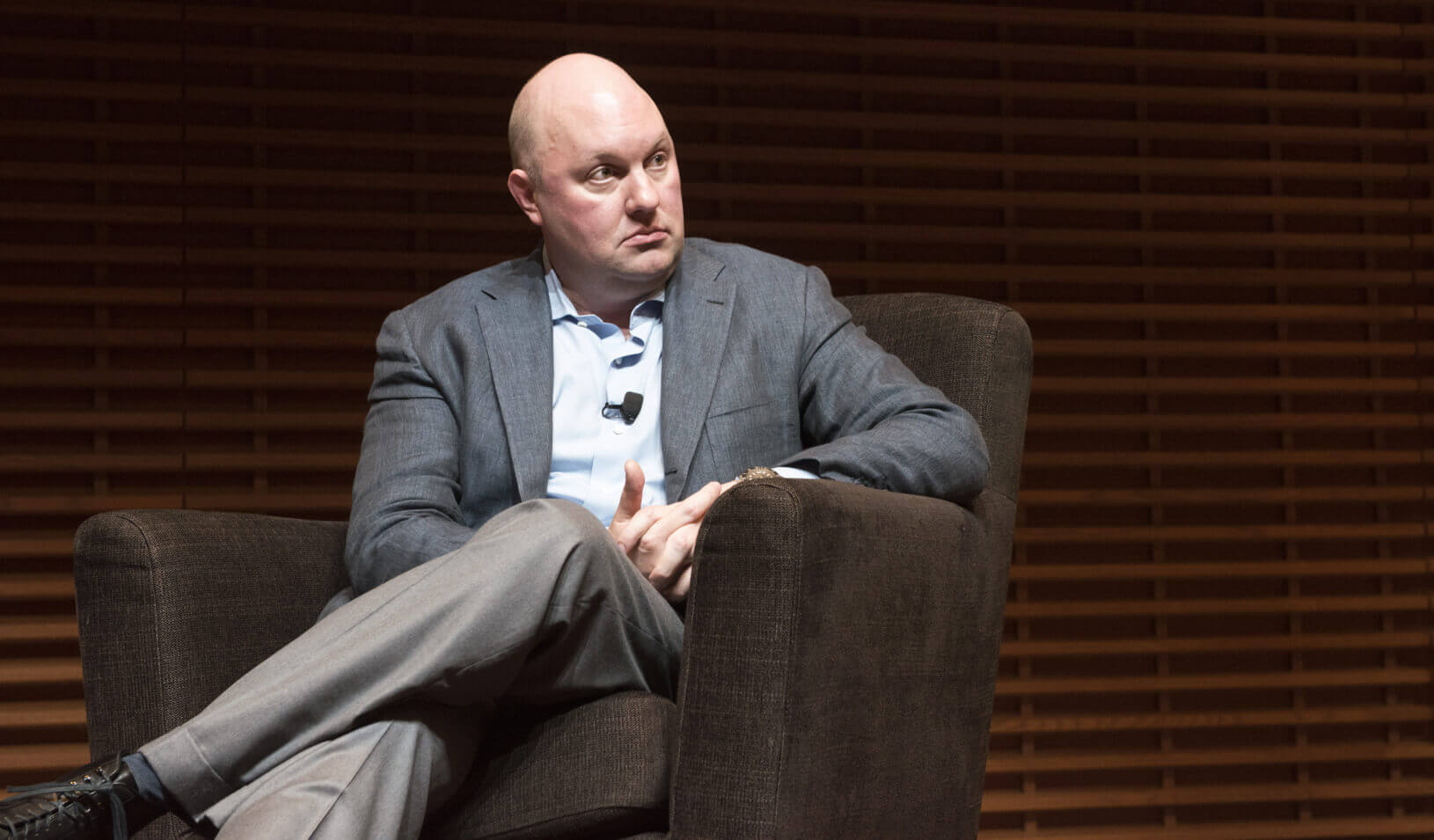 Marc Andreessen in his View From the Top talk at Stanford Graduate School of Business. | Kiefer Hickman